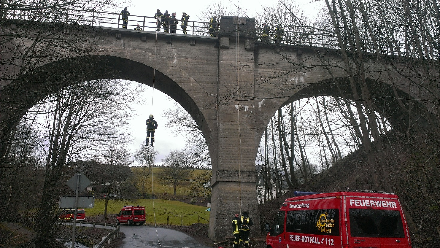 Morsbach fire brigade practising high angle rescue techniques