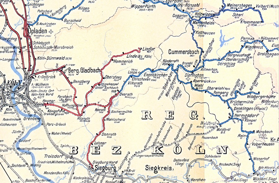 Map of the railway lines in the upper Berg county around 1938 (railway division Wuppertal)