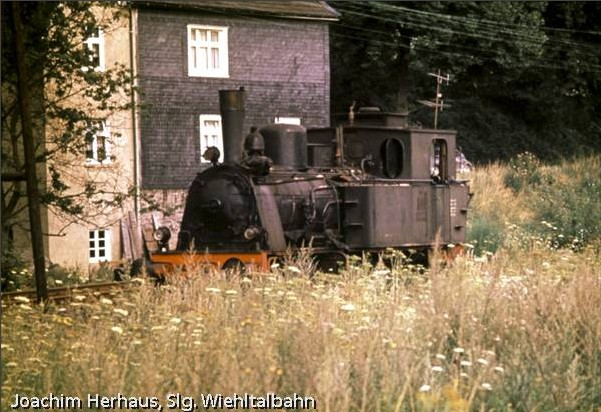 After the end of her first period of service: The steam locomotive 'Waldbröl' of the 'Kleinbahn Bielstein – Waldbröl' - stabled in Bielstein in the late 1960s (Photo Joachim Herhaus)